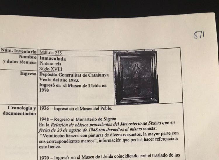 La obra que el Museo de Lleida ha extraviado de los bienes de Sijena.
