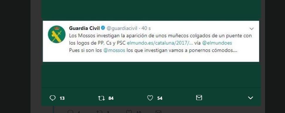 Captura del polémico tweet de la Guardia Civil.