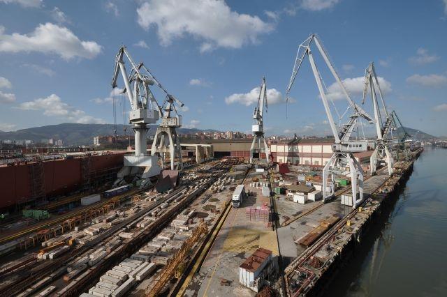 Instalaciones del astillero de La Naval, en Sestao (Vizcaya).