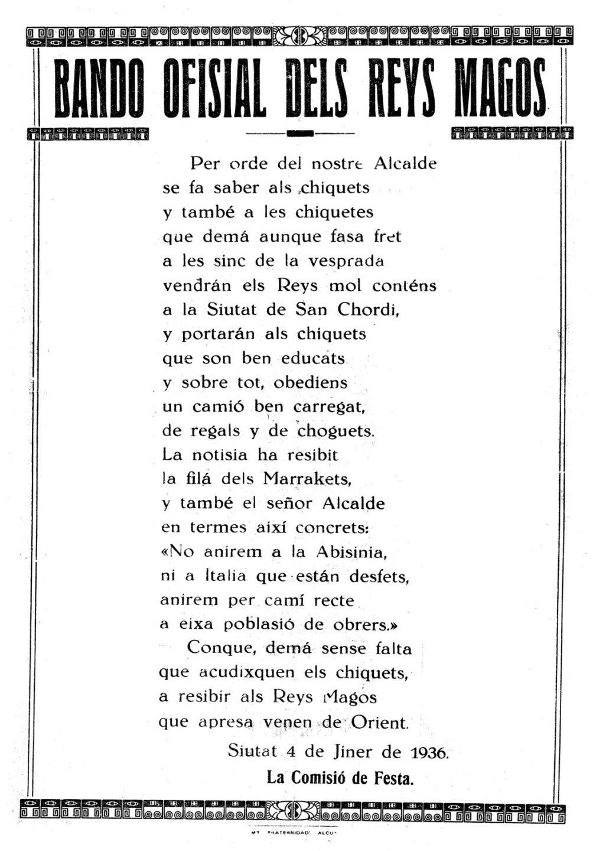 """Bando anunciador de la llegada de los Reyes Magos en enero de 1936, última cabalgata celebrada antes de la Guerra Civil, y que no se recuperó hasta 1940. En 1937 y 1938 esta cabalgata fue sustituida por la """"Fiesta de la Infancia""""."""