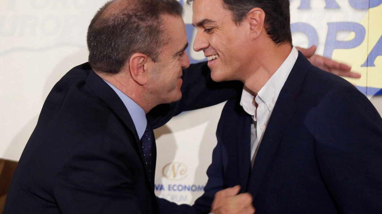 El secretario general del PSOE, Pedro Sánchez, y el líder de los socialistas de Madrid, José Manuel Franco