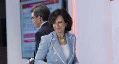 La presidenta del Banco Santander, Ana Botín, durante la rueda de prensa de presentación de la cuenta de resultados de la entidad de 2017.