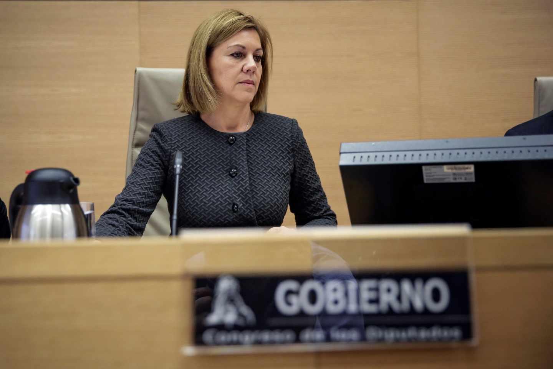 La ministra de Defensa, María Dolores de Cospedal, este miércoles en el Congreso.