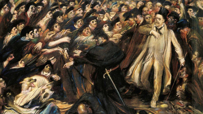 """""""Zola, ultrajado"""", cuadro del pintor Henry de Groux, retratando la salida del escritor Emile Zola del tribunal donde fue juzgado por su artículo """"J'Acusse"""", sobre el caso Dreyfus."""