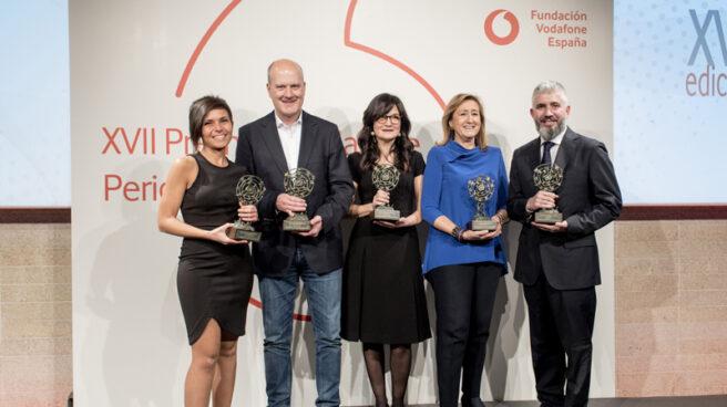 David Page, redactor de El Independiente, recibe el Premio Vodafone.