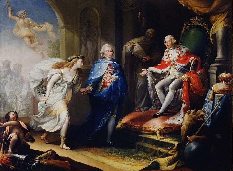 Cuadro: Godoy presentando la paz a Carlos IV.