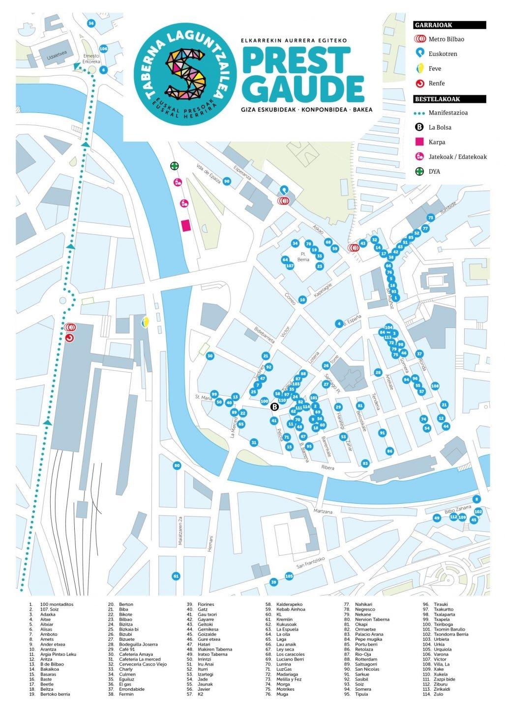 Mapa con el listado de bares publicado por los organizadores de la marcha de apoyo a presos de ETA celebrada ayer en Bilbao.