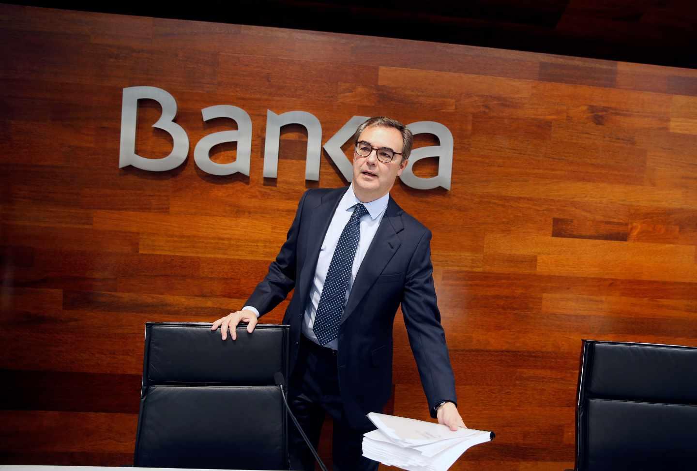 El consejero delegado de Bankia, José Sevilla, a su llegada a rueda de prensa donde hoy presentará resultados de las cuentas de 2017.