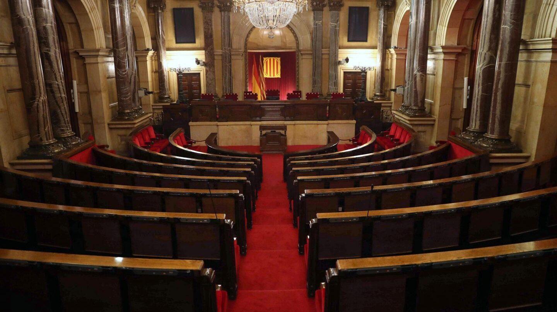 Hemiciclo vacío del Parlament de Cataluña.