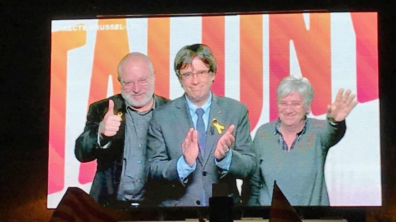 Puig, Puigdemont y Ponsatí, en una reciente videoconferencia.