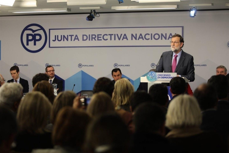 Rajoy durante su intervención en la Junta Directiva Nacional del PP.