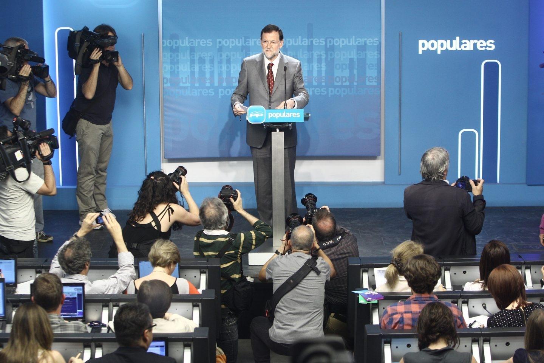 Rueda de prensa de Rajoy en la sede del PP en mayo de 2012.