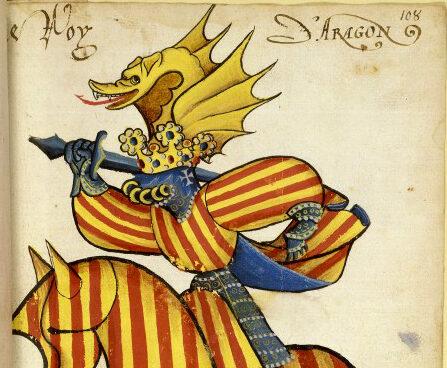 Representación heráldica ecuestre del Rey de Aragón