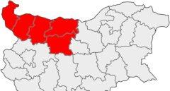 Mapa de la región de Severozapaden, en el noroeste de Bulgaria.
