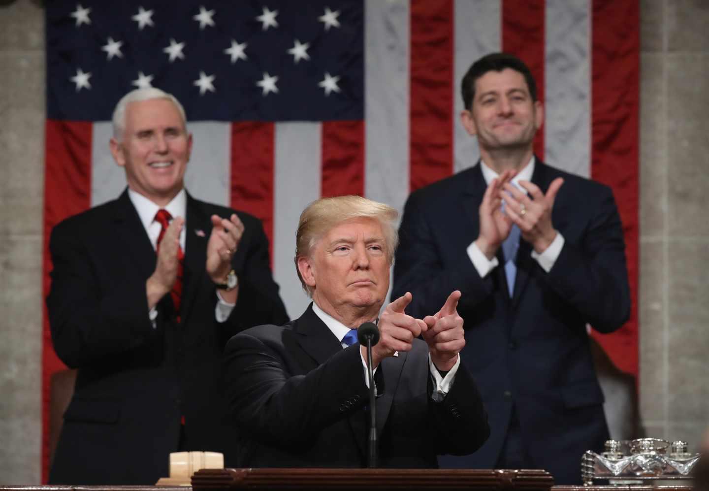 Donald Trump durante el primer discurso del Estado de la Unión.