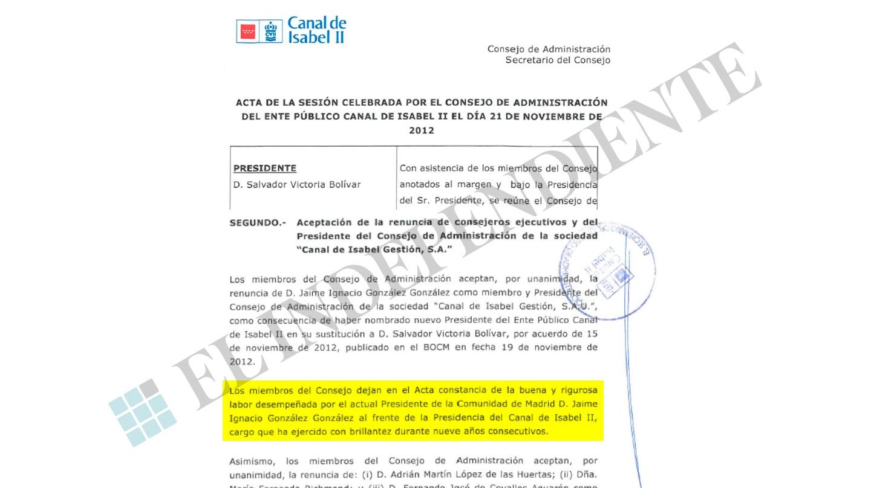 """Acta de la sesión en la que los consejeros del Canal de Isabel II hacen constar la """"brillantez"""" de la gestión de Ignacio González."""