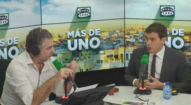 El presidente de Ciudadanos, Albert Rivera, durante una entrevista en Onda Cero.