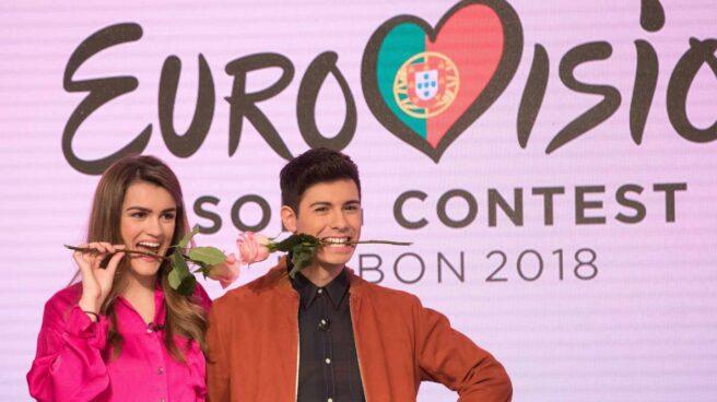 Amaia y Alfred, representantes españoles en Eurovisión, durante una rueda de prensa.