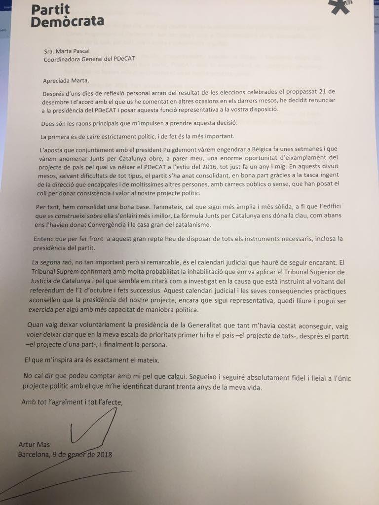 Carta de dimisión de Artur Mas como presidente del PDeCat.