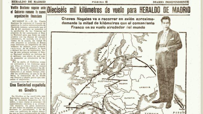 Edición del 21/07/1927 del Herlado de Madrid en que se anuncia la hazaña de Chaves Nogales