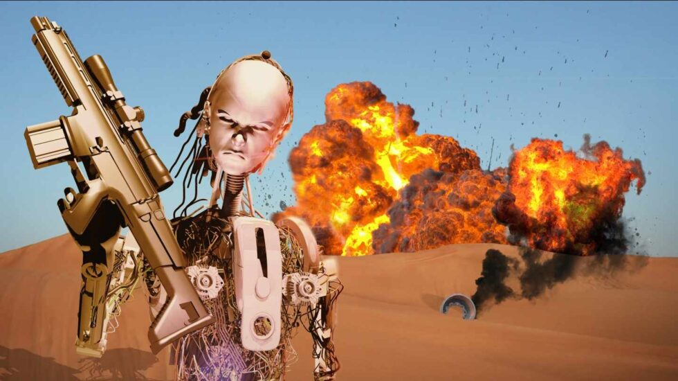 Imagen fantástica de un soldado robot con autonomía para matar