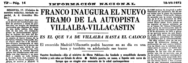 El YA recoge la inauguración de la A-6 hasta Villacastín
