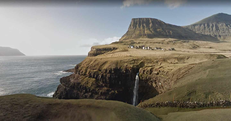 Poblado de Gasádalur, en la isla Vágar del archipiélago danés de las Islas Feroe.