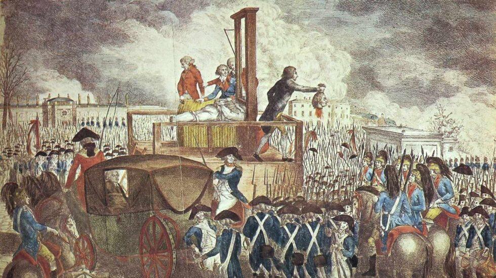 Representación de la ejecución de Luis XVI pintada por Georg Heinrich Sieveking.