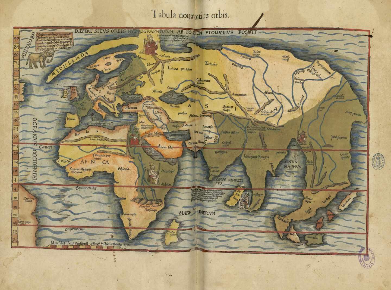 Claudii Ptolemaei Alexandrini Geographicae Enarrationis; Claudio Ptolomeo, edición de Miguel Servet, BNE, 1541