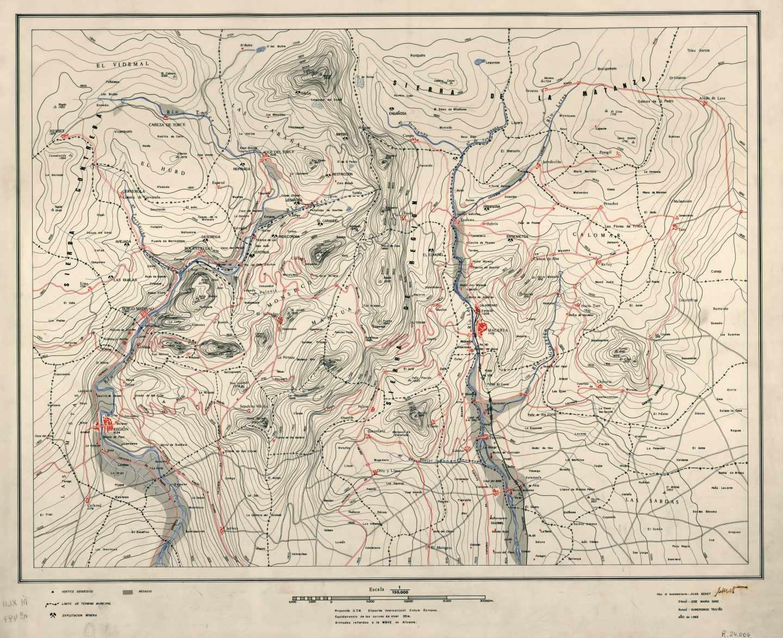 Mapa de Región; Juan Benet, dibujo de José María Sainz, BNE, 1983