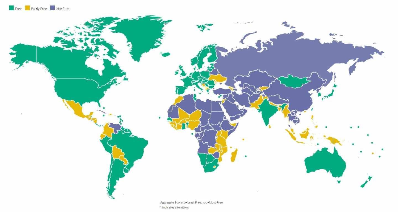 Mapa de libertades en el mundo, edición 2018, elaborado por la organización Freedom House.