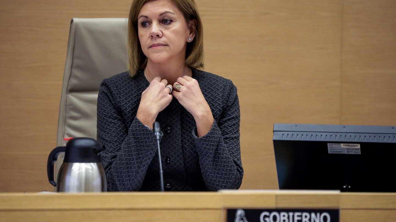La ministra de Defensa, María Dolores de Cospedal, durante una comparecencia parlamentaria.