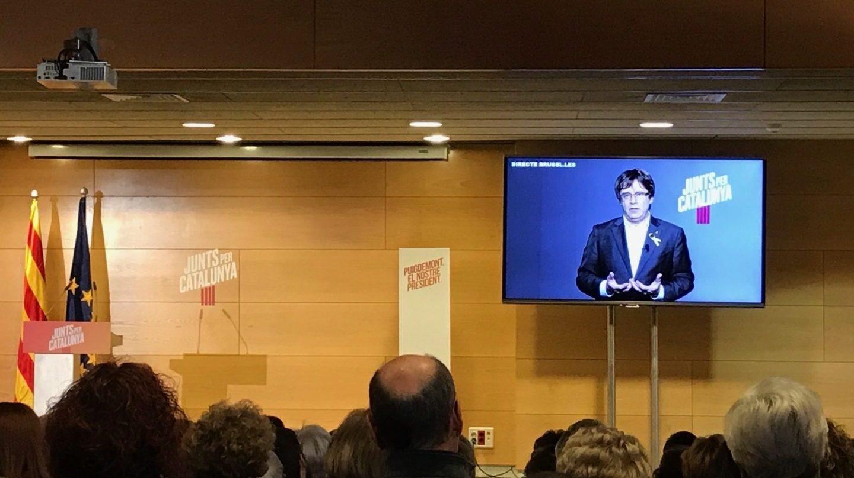 Carles Puigdemont, durante un mitin desde Bruselas.