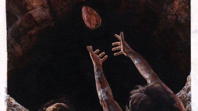 Recreación artística de la ofrenda de Excálibur