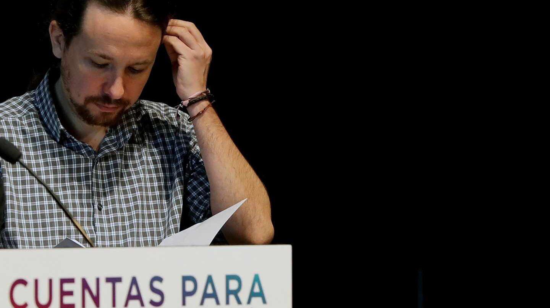 El secretario general de Podemos, Pablo Iglesias, durante la presentación de los presupuestos alternativos de Podemos.