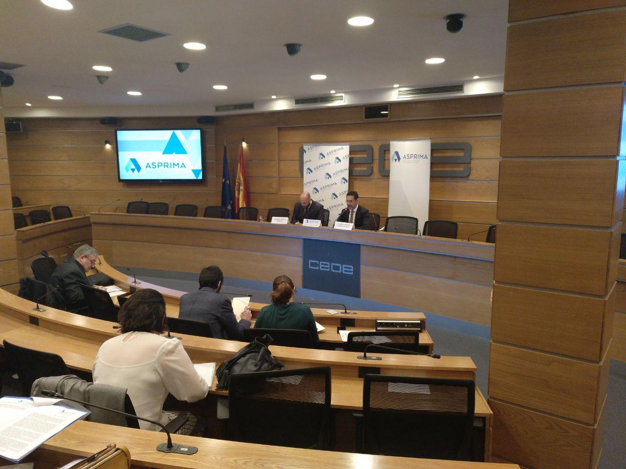 Rueda de prensa de los promotores madrileños, en la sede de la CEOE.