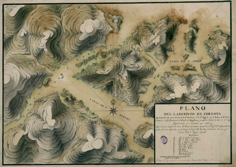 El Estrecho de Magallanes en Plano del Laberinto de Cordova; Antonio de Córdoba y Lasso, BNE, 1786