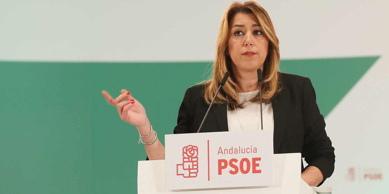La presidenta de la Junta de Andalucía, Susana Díaz, interviene durante una sesión del comité director.