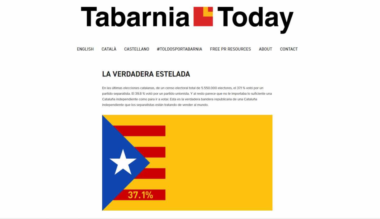 Portada del periódico digital 'Tabarnia Today', lanzado por la plataforma Tabarnia.