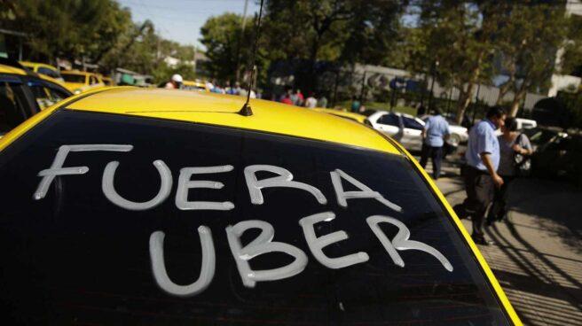 Protesta de taxistas contra Uber.
