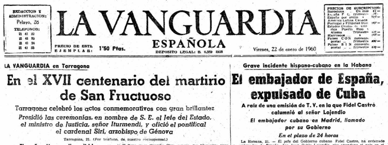 Edición de 'La Vanguardia' del 22 de enero de 1960 en la que se informa de la expulsión del embajador de España en Cuba.