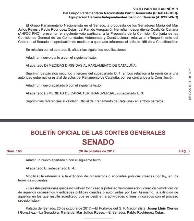 Voto particular de los senadores de Coalición Canaria que elimina los párrafos de control sobre el Parlament.