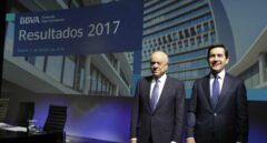 El presidente del banco BBVA Francisco González, y el Consejero Delegado Carlos Torres Vila.