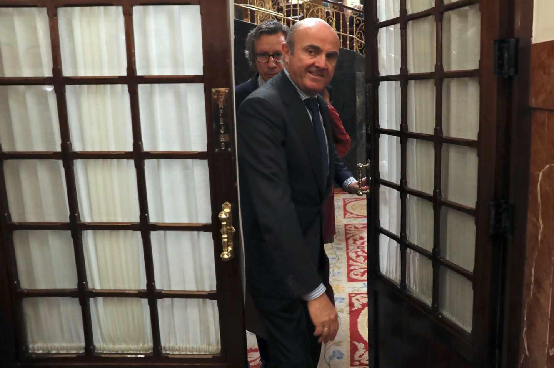 Luis de Guindos este miércoles en el Congreso