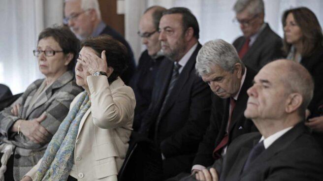 Nueve de los ex altos cargos de la Junta de Andalucía procesados, en una de las sesiones del juicio de la pieza política del 'caso ERE'.