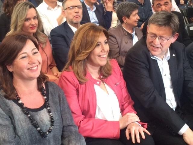 Francina Armengol, Susana Díaz y Ximo Puig, en un acto del PSOE.