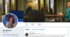 Perfil de Twitter y primer tuit de Ana Botín, presidenta del Santander.