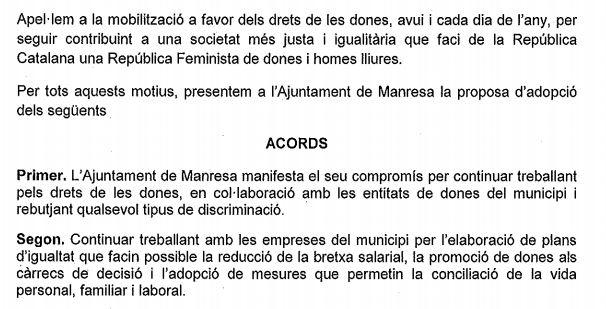 Texto de la proposición apoyada por Ciudadanos en el Ayuntamiento de Manresa.