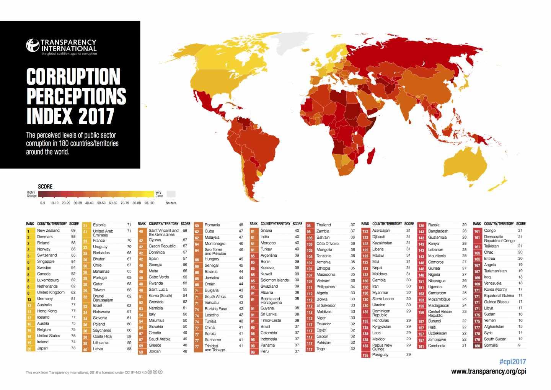 Mapa Corrupcion España 2017.Espana Entre Dominica Y Georgia En El Ranking De Corrupcion
