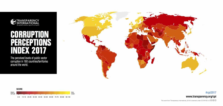 Mapa mundial de corrupción percibida elaborado por Transparencia Internacional.